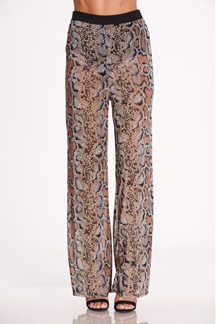 Print Mesh Pants BROWN