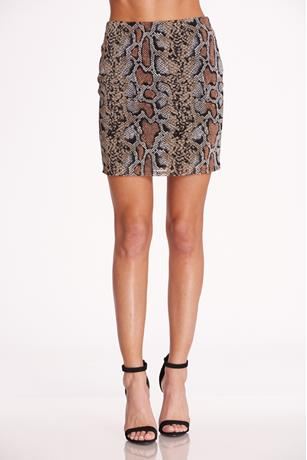 Print Mesh Skirt BROWN