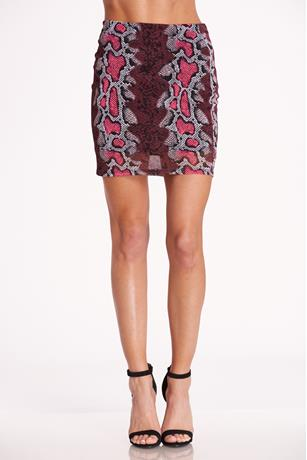 Print Mesh Skirt  PINK