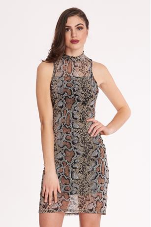 Print Mesh Overlay Dress BROWN