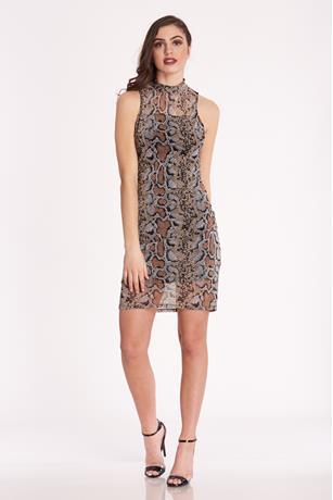 Print Mesh Overlay Dress