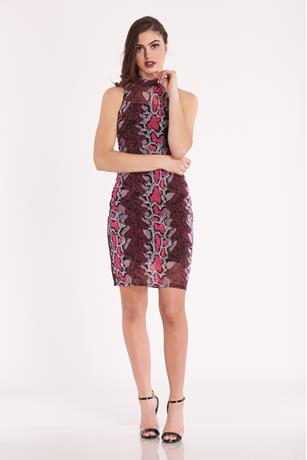 Print Mesh Overlay Dress PINK