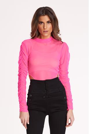Ruched Sleeve Bodysuit PINK