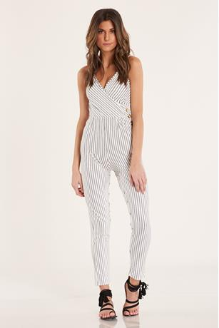 Stripe Surplus Jumpsuit  CREAM