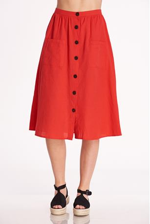 Button Up Midi Skirt RED