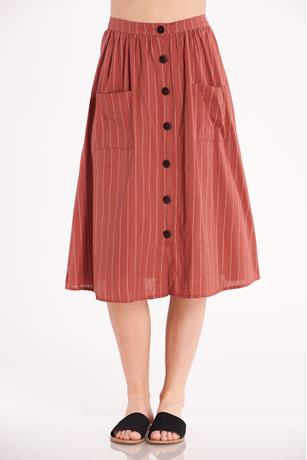 Striped Button Up Skirt RUST