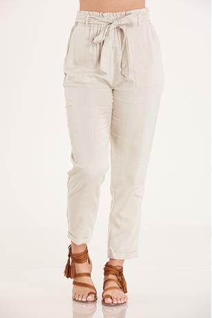 Cuffed Linen Pants  KHAKI