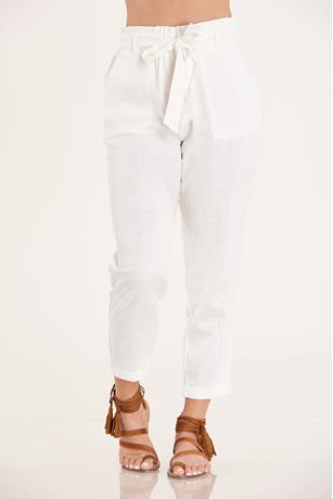 Cuffed Linen Pants  WHITE