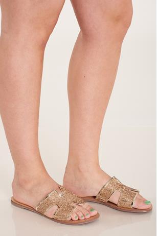 Studded H Sandals GOLD