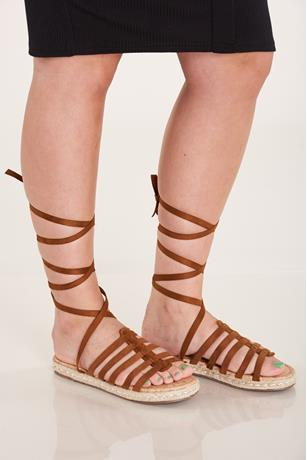 Lace-Up Espadrille Sandals TAN