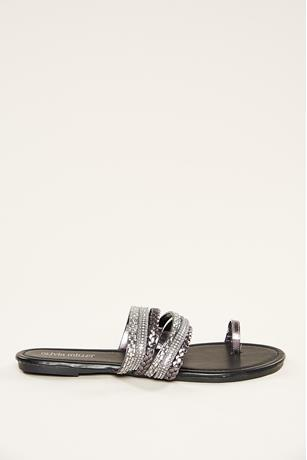 Studded Toe Ring Sandals CHARCOAL