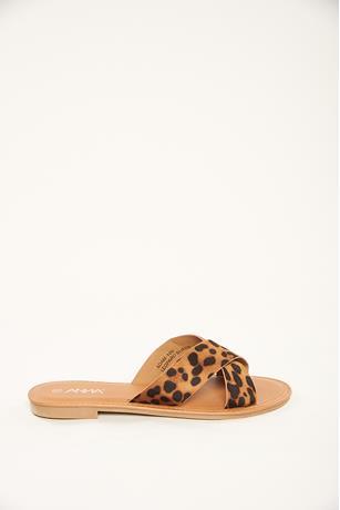 Crisscross Strap Sandals LEOPARD