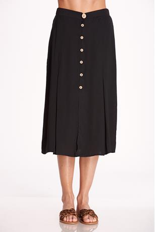 Slit Button Up Midi Skirt BLACK