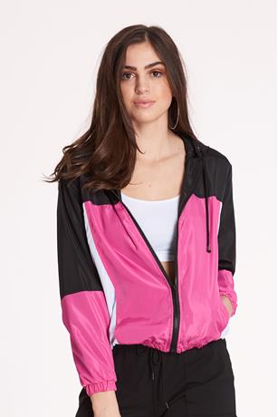 Nylon Colorblock Jacket BLACK