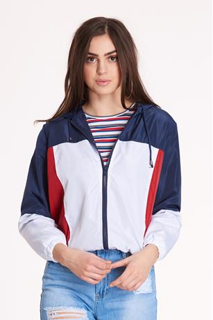 Nylon Colorblock Jacket NAVY