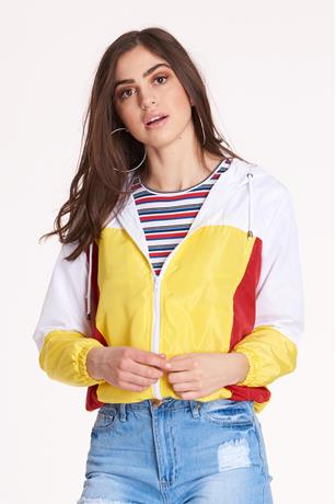 Nylon Colorblock Jacket WHITE