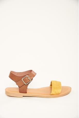 Contrast Strap Sandals MUSTARD