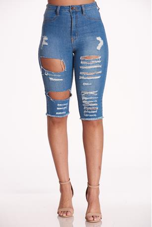 Aphrodite Jeans Bermuda  MED WASH