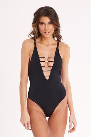 Black Halter One Piece Swimsuit