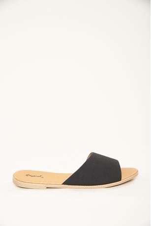 Slide Flat Sandals BLACK