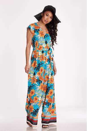 Hibiscus Print Jumpsuit