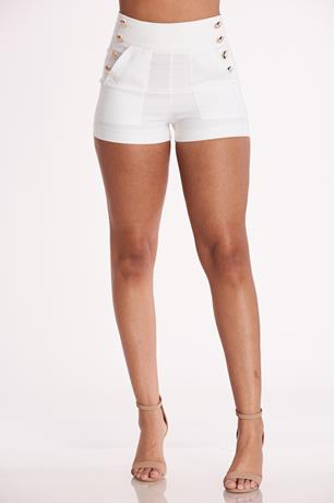 Gold Button Up Shorts WHITE