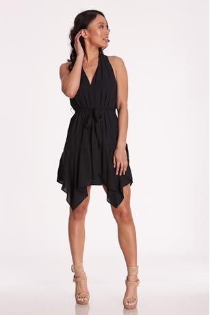 V-Neck Sharkbite Dress BLACK