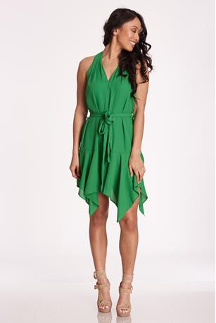 V-Neck Sharkbite Dress GREEN