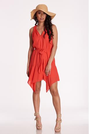 V-Neck Sharkbite Dress RED