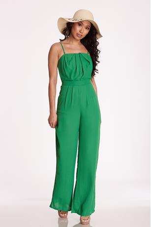 Pleated Back Tie Jumpsuit GREEN