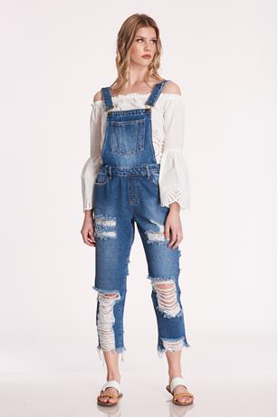 Extreme Ripped Overalls DARK WASH
