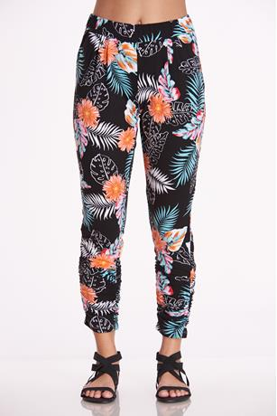 Print Rouched Ankle Pants BLACK
