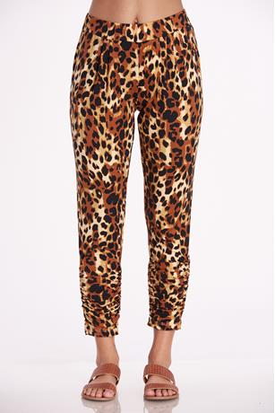 Print Rouched Ankle Pants BROWN