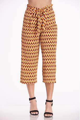 Printed Paperbag Culottes MUSTARD