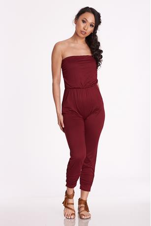Knit Tube Jumpsuit BURGANDY