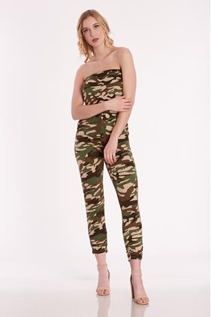 Print Tube Jumpsuit DARK GREEN