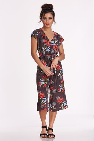 Floral Surplice Jumpsuit BLACK