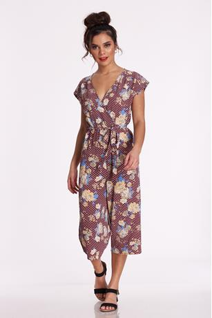 Floral Surplice Jumpsuit RED