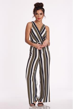 Surplice Striped Jumpsuit OLIVE
