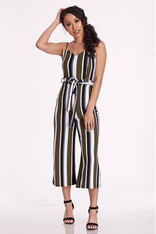 Striped Crop Jumpsuit OLIVE
