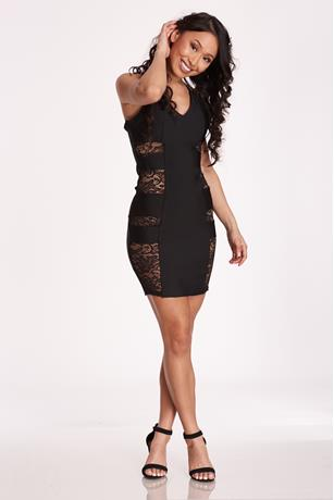 Cut Out Lace Tank Dress BLACK