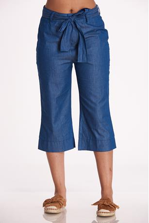 Chambray Tie-Front Culottes DARK WASH