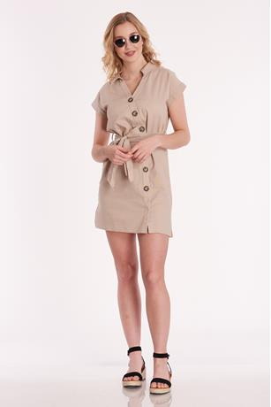 Self Tie Linen Dress KHAKI