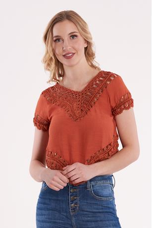Uneven Crochet Trim Top