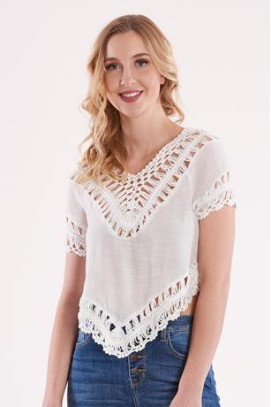 Uneven Crochet Trim Top WHITE