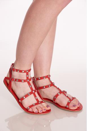 Studded Gladiator Sandals RED