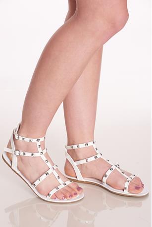 Studded Gladiator Sandals WHITE