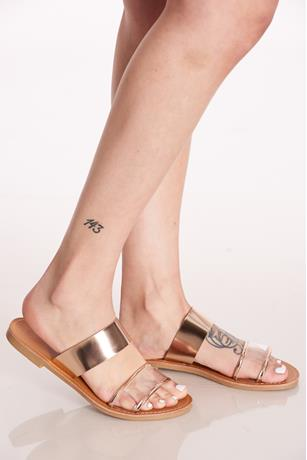 Metallic Double Strap Sandals