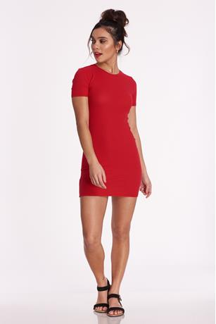 Red Ribbed Dress RED