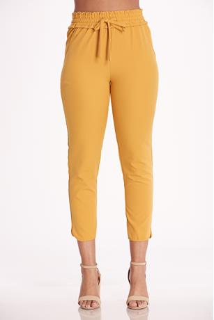 Cinched High Rise Pants MUSTARD